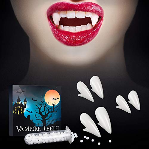 SOOFUN Vampire Fangs Teeth With Adhesive for Halloween - 3 Pack 3 Sizes (13/15/17mm) Realistic Vampire Fang Teeth for Kids Children Teens Adults Men Women, Halloween Dress Up Accessories Cosplay Props Party Favors