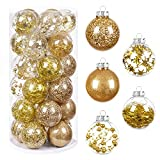 HBlife 30 Pcs Christmas Decorations Ornaments, 5 Styles Gold Christmas Tree Balls , 2.36 inches Shatterproof Ornaments Set for Outdoor Indoor Holiday Wedding Party