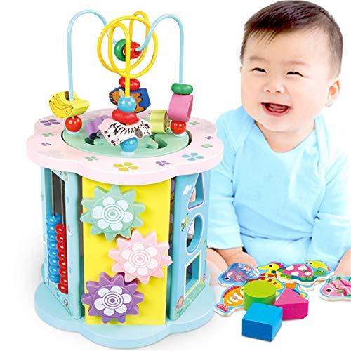 Yingm Cubo De Actividades Bead Maze Actividad de Madera Cubo aprendiendo Juguete niño niña niño Regalo Desarrollo Cerebral (Color : Multi-Colored, Size : One Size)