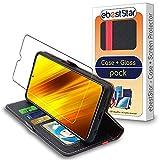ebestStar - kompatibel mit Xiaomi Poco X3 NFC Hülle Kunstleder Wallet Hülle Handyhülle [PU Leder], Kartenfächern, Standfunktion, Schwarz/Rot + Panzerglas Schutzfolie [Phone: 165.3x76.8x9.4 mm, 6.7