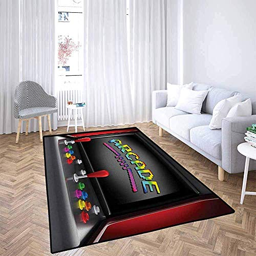 LAURE Area Alfombra Area Mat Alfombra Videojuegos Arcade Machine Retro Gaming Fun Joystick Botones Vintage 80s 90s Electronic Multicolor