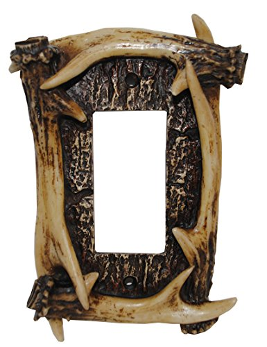 "HiEnd Accents LD8200-SR-OC Rustic Antler Lodge Single Rocker Decorative Wall Plate, 5"" x 3.5"" x 0.5"""