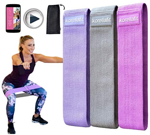 KORELLAFIT Resistance Bands for Women Butt and Legs, Non Slip Booty Bands for Working Out, Workout Exercise Fitness Resistant Elastic Loop Set of 3 - Bonus Workout Program and Instruction Video.