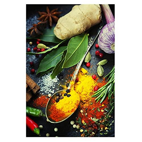 Lefgnmyi Granos Especias Cuchara Pimientos Pintura sobre lienzo Carteles e impresiones Arte de la pared de la cocina Cuadros Cuadros para la decoración del hogar-20x32 IN Sin marco