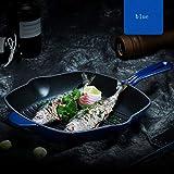 Bestting Ghisa Piastra Pan, Premium Non-Stick Piastra Pan per Il Gas Adatto a Tutti i Tipi di Hob Anche ad induzione,Blu