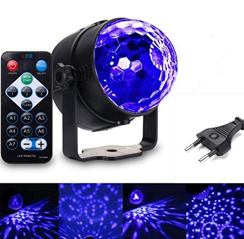UV Beleuchtung Discokugel SOLMORE LED Lichteffekte Disco Licht Partylicht mit Fernbedienung und Soundkontrolle 3W Bühnenlicht für Dekoration Party Bar Club Disco Karneval