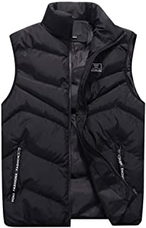 Mens Padded Vest with Flannel Lining AmyDong Stand Collar Waistcoat Gilet Hooded Jacket Top Blouse