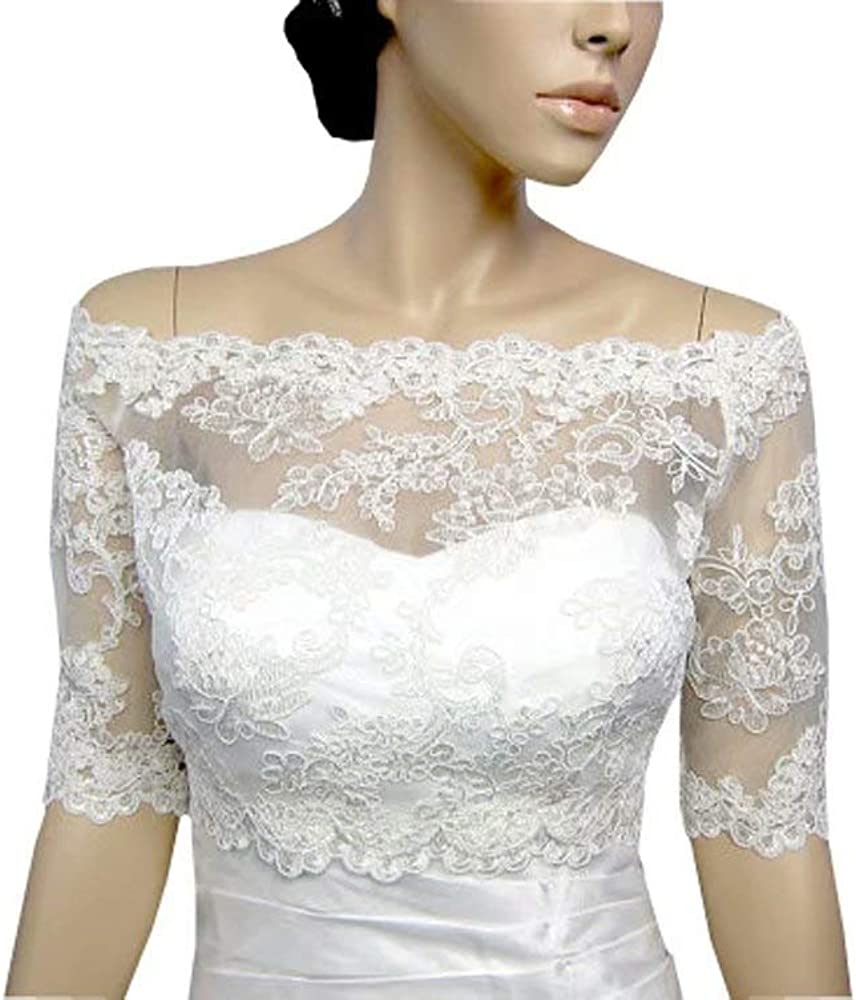 Off The Shoulder Wedding Jacket with Sleeves Lace Dress for Evening Women