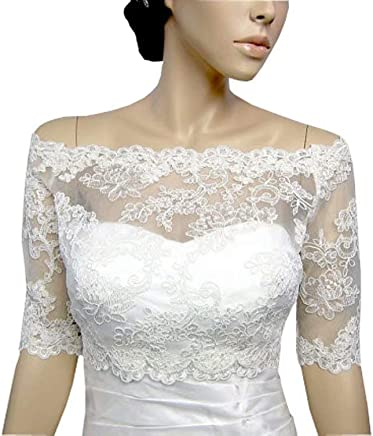 834cfbeaf0 Off The Shoulder Wedding Jacket with Sleeves Lace Dress for Evening Women