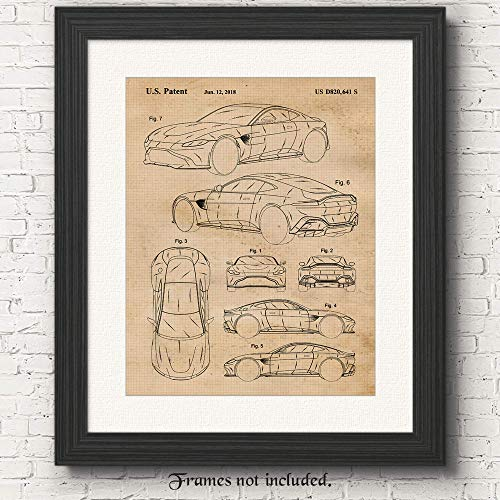 Vintage Aston Martin Vantage Patent Poster Prints, Set of 1 (11x14) Unframed Photo, Great Wall Art Decor Gifts Under 15 for Home, Office, Man Cave, College Student, Teacher, England Cars & Coffee Fan