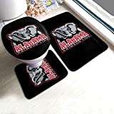 Alabama Crimson Tide Bath Floor Mat 3 Piece Set Bathroom Carpet Bath Rug Absorbent Anti-Skid Pads Bath Mats + Contour Pads + Toilet Lid