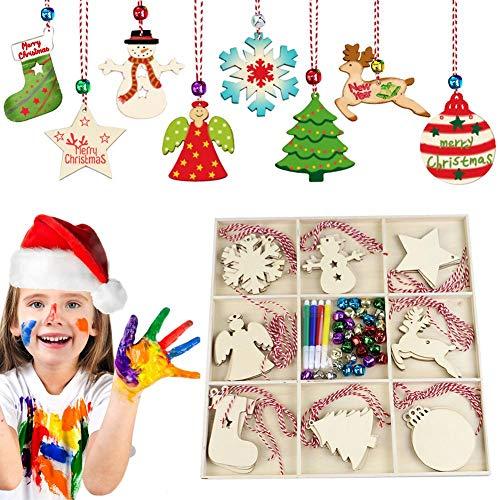 Dewdropy DIY Weihnachtsdekoration Geschenkset Neun Quadrat Gitter Holzkiste Handgemachte Holzhackschnitzel Kleiner Anhänger Für Logo Making Label