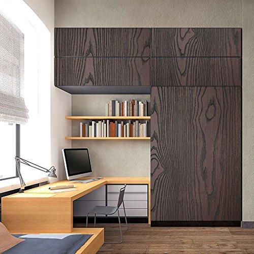 KINLO Möbelfolie PVC 5x0.61M Holz Schwarz selbstklebend Möbel verschönen ohne Glanz Dekofolie Anti Schimmel Deko Stickerfolie für Schrank 2 Jahren Garantie
