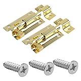 sendili 2 pezzi chiavistello porta scorrevole oro in acciaio inox - serratura di sicurezza per porta scorrevole bagno, fnestra, mobili, cancelletto per animali domestici