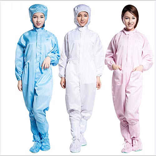 QINYUP Abbigliamento Antistatico Senza Polvere, Tuta da Lavoro, con Cappuccio Tuta Intera, Senza buche, comprese Le Scarpe,Rosa,L