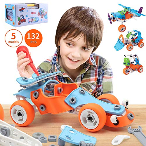 Building Blocks Toys, Scoolr 132pcs Stem Learning Toy Creative Educational Construction Engineering Blocks Toy Set Screw Block Toy Set for Age 5 6 7 8 9 10 Years Old Boys Girls Birthday