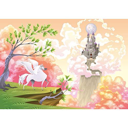 Fototapete Kindertapete - ALLE KINDERMOTIVE auf einen Blick ! Vlies PREMIUM PLUS - 200x140 cm - MAGIC PEGASUS - Kinderzimmer Mädchen Einhorn Märchen Pastell - no. 086