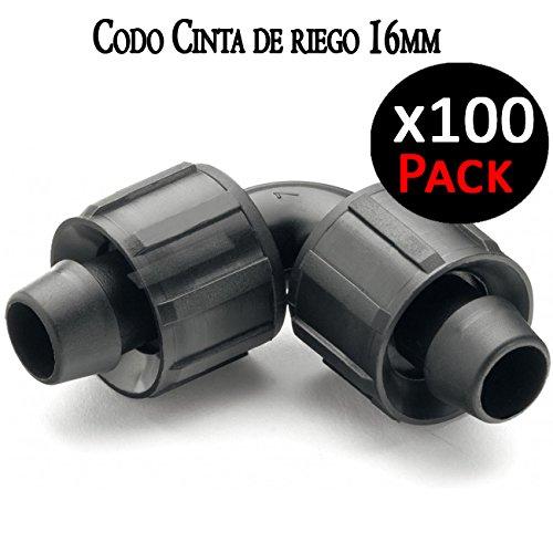 Suinga Coude raccord pour ruban d'irrigation par goutte 16 mm manchon coudé pour connecter deux cassettes d'irrigation. Pack 100 unités.