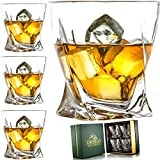 Amerigo Premium Whisky Set De 4 Vasos En Caja De Regalo De Lujo - Vasos De Whisky Twist 12oz para Whisky - Whisky De Regalo para Hombres - Vasos De Vidrio - Regalo del Día del Padre - Set De Bar