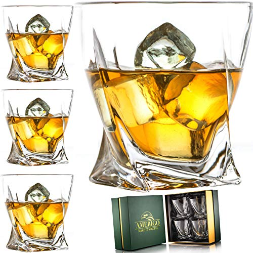 Amerigo Premium Whiskey Glass Set of 4 in Luxury Gift Box - Twist Whiskey Glasses 10oz for Scotch,...