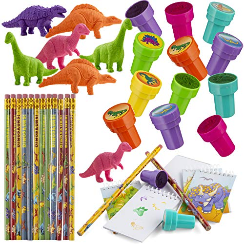 Favonir™ Dinosaurs Party Favor Stationary 48 Gift Set – Dinosaurs Designed Stampers – Assorted Dino Themed Spiral Notebook – Mini Realistic Looking Dinasuar Eraser Figurines And Pencils - For Birthday Novelty Prizes And Decorations