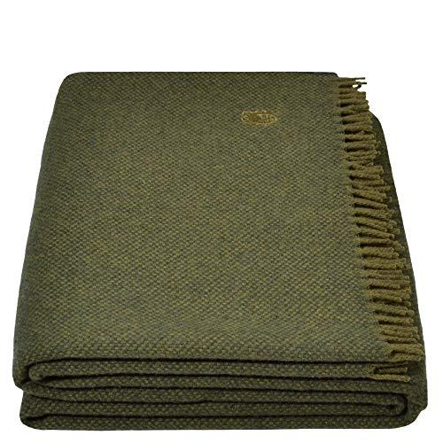Must Relax-Decke – Wolldecke – hochwertiges Plaid aus reiner Schurwolle mit Fransen – 130x190 cm – 670 forest – von 'zoeppritz since 1828'
