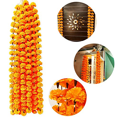 ZT|Indian Home Decorative Flower Mala for decore Your Home in Festival 10 Pcs 2 Meter Each.Garlands
