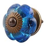 10 piezas artesanales IndianShelf cristal azul Royal Melón perillas de cajón de la puerta del armario ropero tira de aparador en línea New