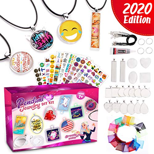 Goody King Pendant Jewelry Making Kit for Girls - Set of 16 Assorted DIY Cabochon Necklace Pendants and Keychains Craft for Kids - Cool Arts and Crafts for Children Ages 7 8 9 10 11 12 Years Old
