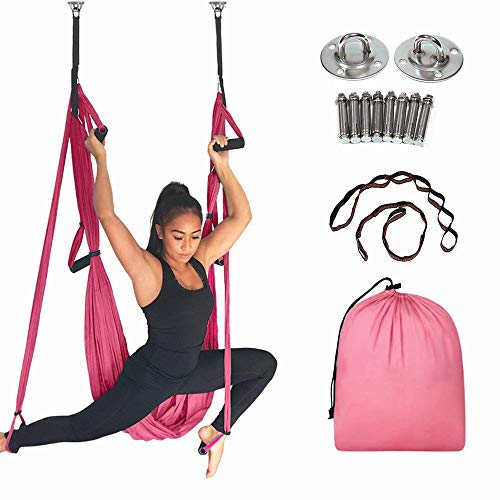 MQSS Ariel Yoga Hammock Kit and Stand Outside, Trapeze Yoga Kit Aerial Yoga Swing Set Antigravity Ceiling Hanging Yoga Sling Wide Flying Yoga Inversion Toolpink