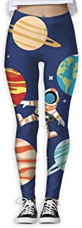 XMKWI Astronaut Planets Womens Power Flex Activewear Yoga Pants Workout Tights Leggings Trouser