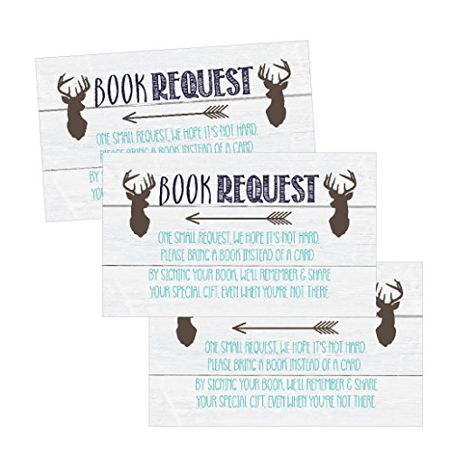 25 Deer Books For Baby Request Insert Card For Blue Boy Buck Woodland Baby Shower Invitation or invite, Cute Bring A Book Instead of A Card Theme For Gender Reveal Party Story Game Business Card Size