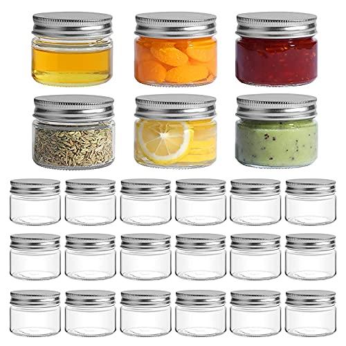 ComSaf 150ml Tarros de Cristal con Tapas, 24 Piezas Botes Cocina Pequeños, Vasos de Hermético Conservas, Transparente Recipientes de Vidrio para Yogurtera, Especieros