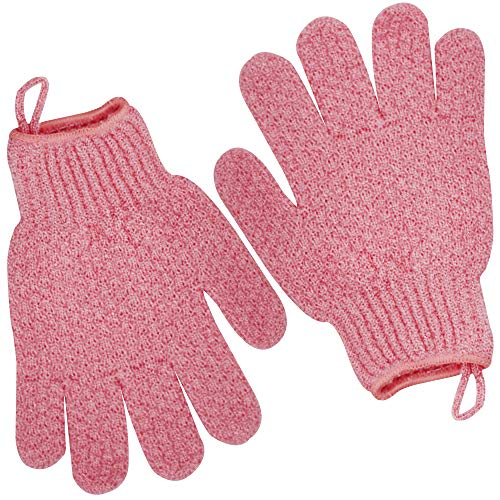 Exfoliating Gloves (1 Pair Heavy Glove) Exfoliating Dual Texture Bath Gloves for Shower, Spa, Massage and Body Scrubs, Dead Skin Cell Remover, Gloves With Hanging Loop Mens Womens Stocking Stuffer