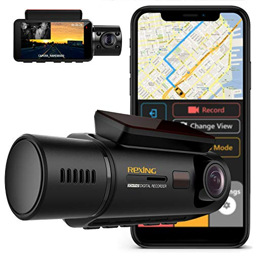 Rexing V3 Dual Camera Front and Inside Cabin Infrared Night Vision Full HD 1080p WiFi Car Taxi Dash Cam with Built-in GPS, Supercapacitor, 2.7' LCD Screen, Parking Monitor, Mobile App