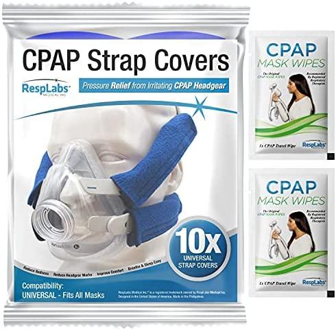RespLabs CPAP Strap Covers - Universal 4 Pack - Reusable, Multi-Fit, Comfort Enhancing. Soft, Washable, Breathable Fabric Wraps
