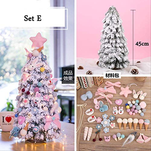 WARRT Arbol de Navidad Mini Mesa Top Nieve Navidad Árbol Decoración Led Decoración Hogar Navidad Ornamentos DIY Regalo Nuevos Años Conjunto E