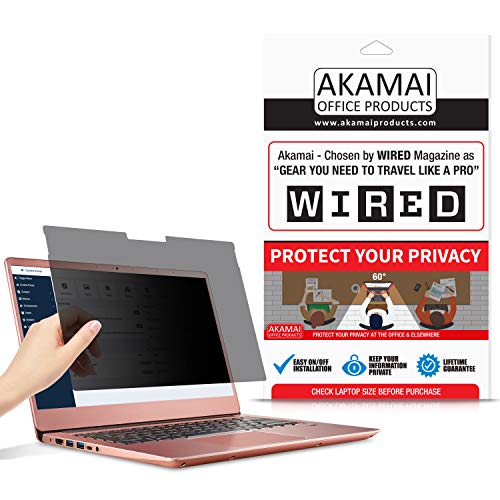 Akamai 15.6' (16:9) Privacy Screen Filter - Removable Edge-2-Edge Laptop Glass Surface Protector - Monitor Security Film