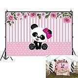 OFILA Cartoon Panda Backdrop 7x5ft Polyester Fabric Girls Panda Birthday Party Photography Background Girls Panda Theme Baby Shower Photos Pink Striped Background Girls Room Wallpaper Studio Props