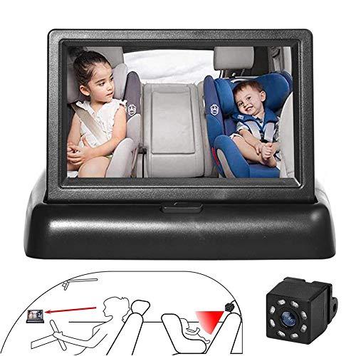 cheerfulus-1 4,3 '' HD-Auto-Babykamera-Monitor,Nachtsicht-Babyauto-Spiegelkamera,Babyphones Überwachung Sicherheits-Kindersitz-Rückspiegelkamera mit weitem Blick, Keine Notwendigkeit, zurückzublicken