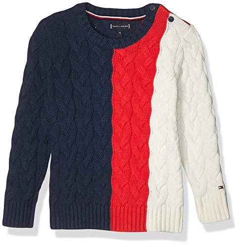 Tommy Hilfiger Cable Colorblock Sweater Chaqueta y Abrigo para Bebé-Niños, Color Black Iris/Formula One, 2T