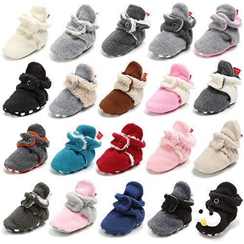TIMATEGO Newborn Baby Boys Girls Cozy Fleece Booties with Grippers Stay On Slipper Socks Infant...