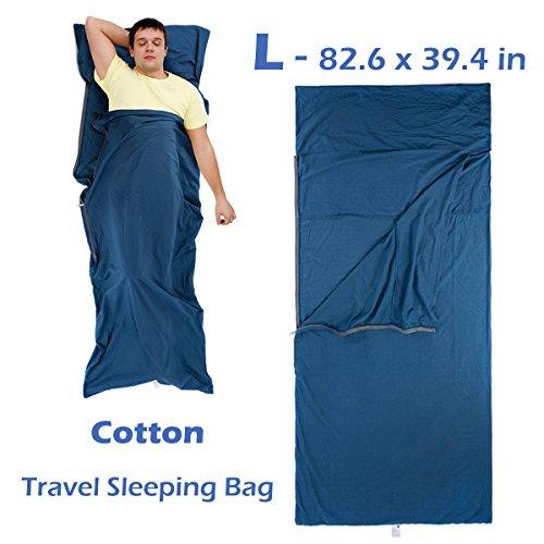 Azarxis slaapzak liner reislaken slaapzak deken voor volwassenen katoen lichtgewicht ultralichte envelop compact - dubbel 2 King/single 1 koningin
