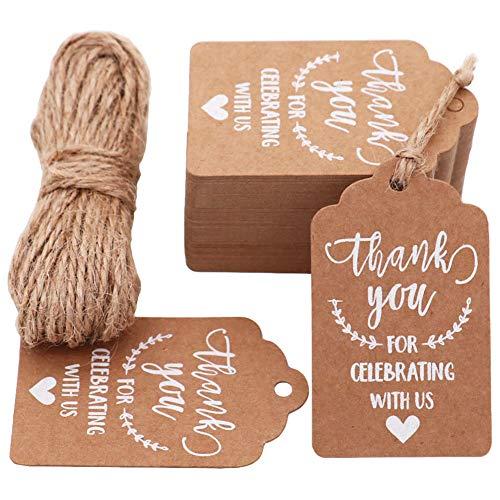 MAMUNU 'Thank You for Celebrating with Us ' etichette, 100 pezzi Kraft Tag con 20 metri di spago naturale di iuta per matrimonio, baby shower, ringraziamento e decorazione del partito