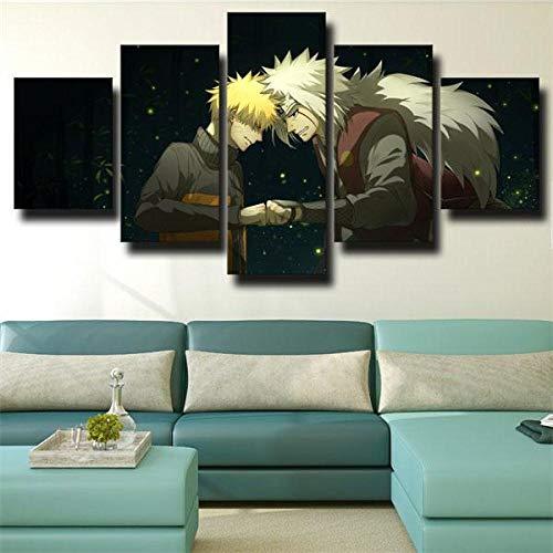 BHJIO 5 Piezas Cuadro sobre Lienzo Imagen Narut Jiraiya Y Narut Uzumaki Impresión Pinturas Murales Decor Fotos para Salon,Dormitorio,Baño,Comedor Regalo 80X150Cm