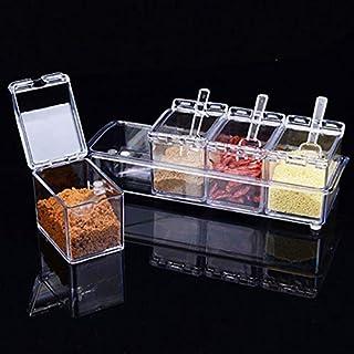 WZHZJ 4 / Ensembles Hot saveur Assaisonnement Jar Set de Cuisine Condiments Boîte Acrylique épices boîte de Rangement Boît...