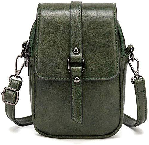 Borsa a tracolla da donna in pelle sintetica, con 3 scomparti e scomparti per carte di credito, portafoglio per iPhone 5/6/7/8/X Plus, 86-verde