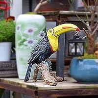 ホームヤードの装飾彫刻園の屋外の装飾の彫像彫刻の庭の飾りヴィンテージライト樹脂樹脂のオウムの置物の庭の装飾動物屋外芝生の彫刻飾り (色 : Black)