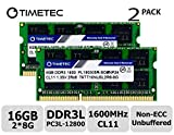 Timetec Hynix IC 16GB Kit (2x8GB) DDR3L 1600MHz PC3-12800 Unbuffered Non-ECC 1.35V CL11 2Rx8 Dual Rank 204 Pin SODIMM Laptop/Notizbuch Arbeitsspeicher Module Upgrade (16GB Kit (2x8GB))