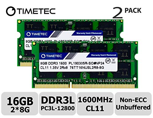 Timetec Hynix IC 16GB Kit (2x8GB) DDR3L 1600MHz PC3-12800 Unbuffered Non-ECC 1.35V CL11 2Rx8 Dual Rank 204 Pin SODIMM Laptop / Notizbuch Arbeitsspeicher Module Upgrade (16GB Kit (2x8GB))